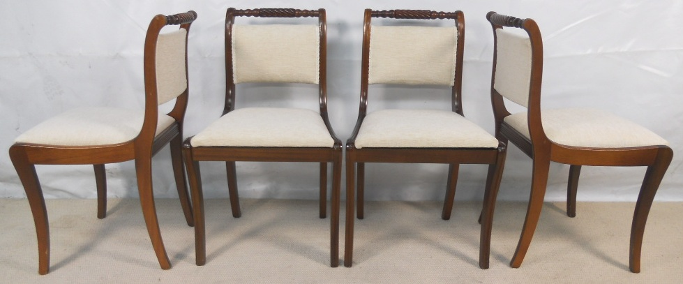 Set Of Six Regency Style Upholstered Mahogany Dining Chairs